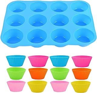 Lowats Moule Muffin Silicone 1 Pièce Moulle Silicone Patisserie Moulle Cupcakes Moulle a Muffin Moules à Muffins Réutilisa...