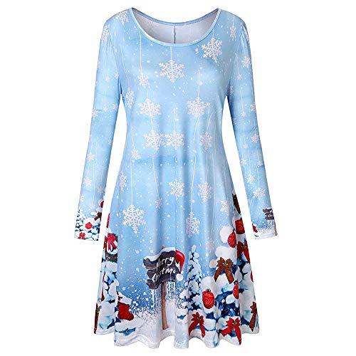 MIRRAY Damen Lange Ärmel Jahrgang Weihnachten Druck Rundhals Party Kleid Knielänge Brautkleid