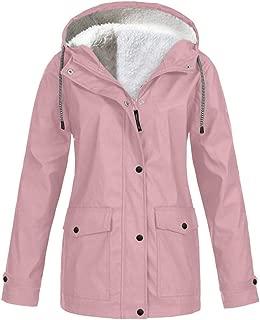 Women's Plus Size Solid Color Velvet Lined Outdoor Waterproof Hooded Raincoat Windproof Jacket Trench Coat