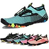 Water Shoes Mens Womens Beach Swim Shoes Quick-Dry Aqua Socks Pool Shoes for Surf Yoga Water Aerobics (E-Light Green, 36)