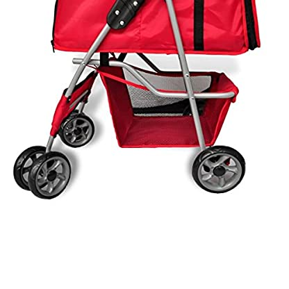 vidaXL Folding Pet Stroller Red Dog Cat Travel Carrier Transport Trolley Pram 5