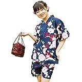 201916-72 AiAi(アイアイ) 甚平 上下セット 女の子 綿100% 夏祭り 花火大会 [鉄紺アサガオ/160cm]