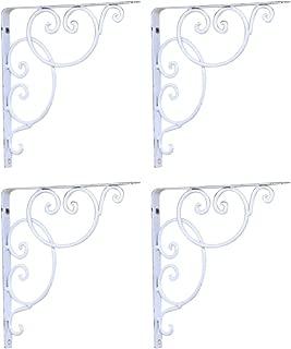 WINOMO Shelf Bracket Wall Mounted Scroll Shelf Brackets 4pcs (White)