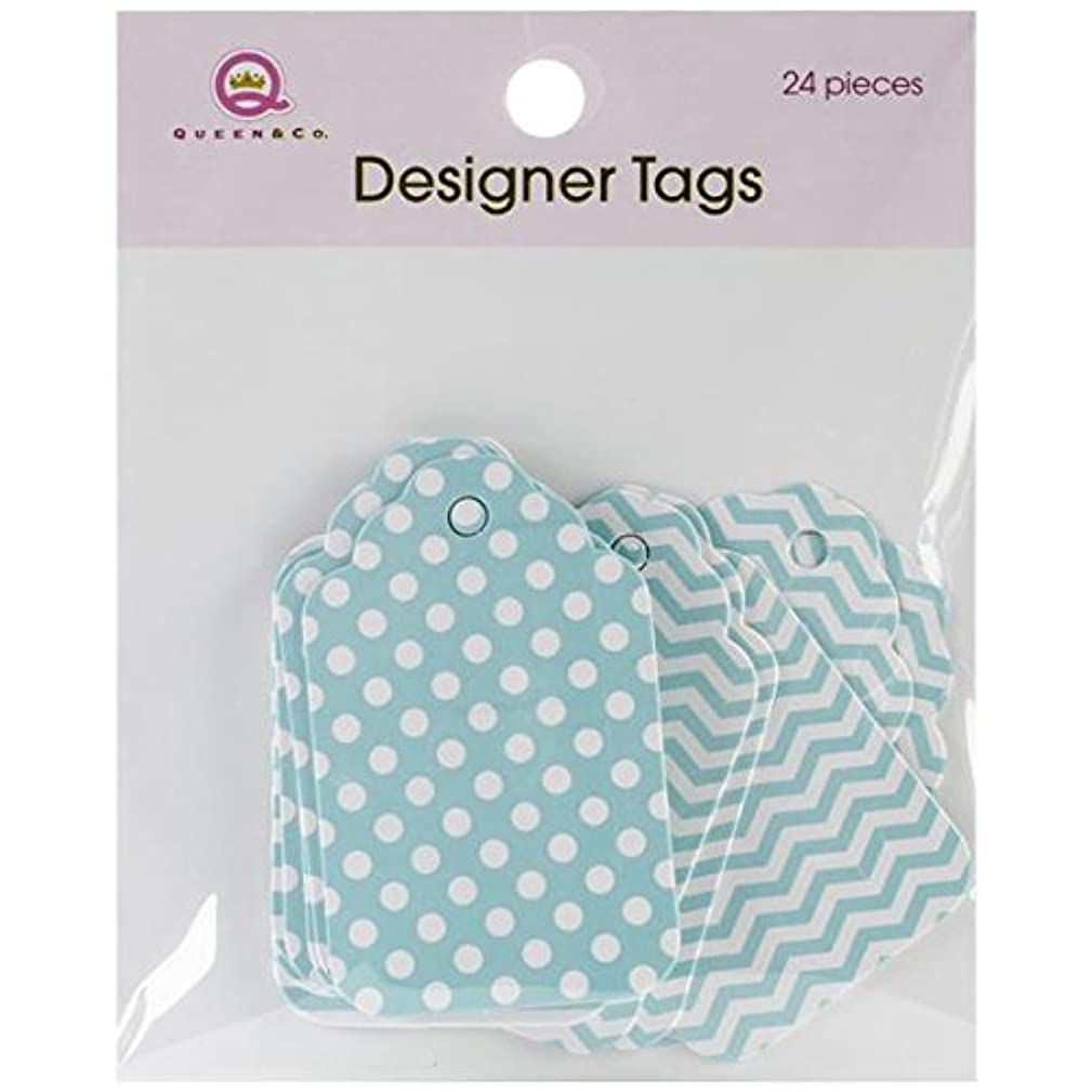 Queen & Co Designer Tags, 2 by 1.25-Inch, Blue