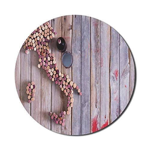 Winery Mouse Pad für Computer, Karte von Italien Sardinien und Sizilien Alte Korken auf alten rustikalen Holztisch, rundes rutschfestes dickes Gummi Modern Gaming Mousepad, 8 'rund, lila rot sandbraun