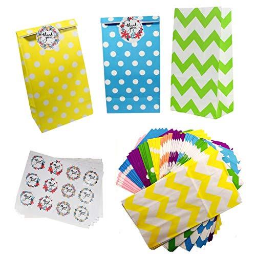 JZK 50 xBolsas de papel coloridas con pegatinas de sellado, bolsas de regalo para niños fiesta de cumpleaños para niños fiesta de cumpleaños comida bocadillos dulces bolsas