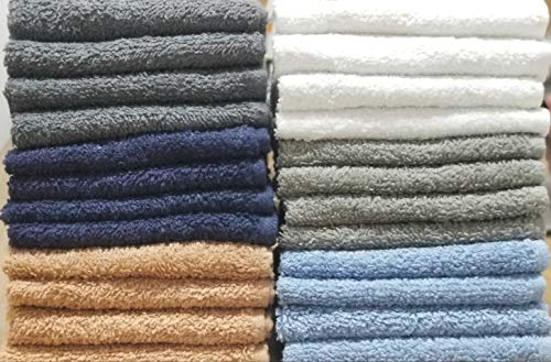 BEST TOWEL 24-Pack Washcloths - Extra-Absorbent - 100% Cotton - 12' x 12' (Multi, 24 Pack Washcloth 12x12)