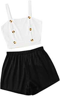 ZQISHMAO Womens 2 Piece Outfit Summer Buttoned Solid Crop Halter Top with Shorts