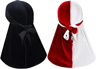 2 Pcs Wave Durags (Velvet Durag and Two Tone Velvet Durag) – Premium Soft Headwraps with Extra Long Tail for 360 Waves