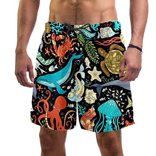 Unterwasser-Tiere, Oktopus, Wal, Delfin, Schildkröte, Fisch, Seestern, Krebse, Quallen, Seepferdchen, Badehose, elastischer Badeanzug, Boardshorts für Herren, L Gr. L/XL, multi