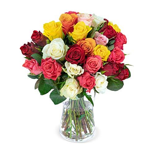 30 bunte Rosen - Blumenstrauß – ideale Geschenkidee- Blumenversand - Rosenstrauß - Schnittrosen - 50 cm Länge - 7-Tage-Frischegarantie - 30 cm Durchmesser
