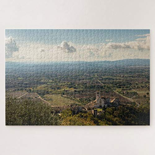 CICIDI Assisi Plain and Saint Francis Basilica, Italy Jigsaw Puzzle 1000 Pieces for Adult Entertainment DIY Toys , Graet Gift Home Decor