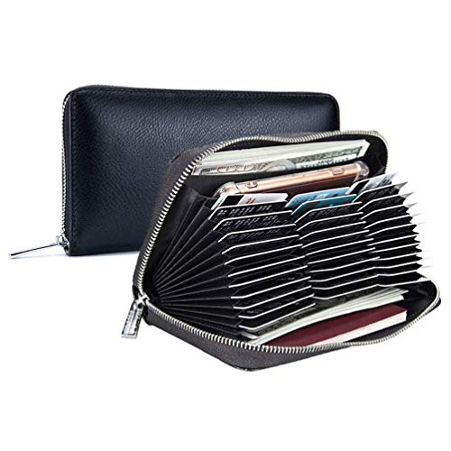Clairty Card Holder Wallet RFID Blocking Leather Card Case Wallet Large Capacity (36 Cards)
