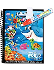 Mumoo Bear Reusable Water Drawing Book, Early Educational Children Creative Magic Water Painting Book, for 2 Years Old and Up Unisex Kids, Gifts for Toddler Baby Boys and Girls
