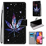 Miagon Flip PU Leder Schutzhülle für Samsung Galaxy A20S,Bunt Muster Hülle Brieftasche Case Cover Ständer mit Kartenfächer Trageschlaufe,Nacht Blatt -