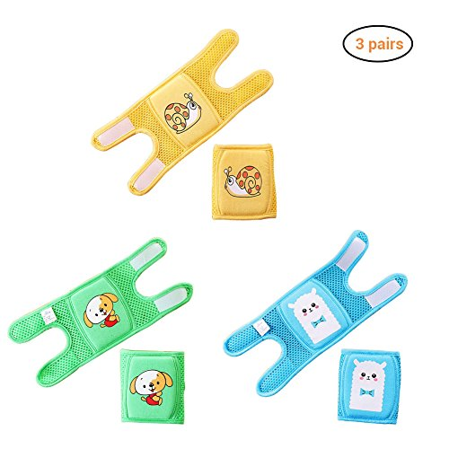 Daxoon Baby Knieschoner zum Krabbeln (3 Paar), elastisch, rutschfest und schützt Kleinkinder, Knie, Ellbogen und Beine. Verstellbare Träger und atmungsaktives 3D-Netzgewebe