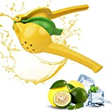 Manual Yellow 3 in 1 Citrus Hand Juicer - Metal Extractor Squeezer for Fresh Pressed Juice without Seeds or Pulp - Commercial or Home Use