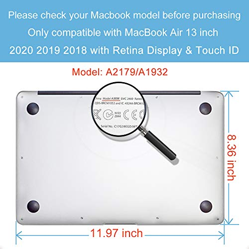BELK Hülle Kompatibel mit MacBook Air 13 Zoll 2020 2019 2018 Freisetzung A2337 M1 A2179 A1932 mit Retina Display & Touch ID, Ultradünne Glatt Plastik Hartschale Schutzhülle Case Cover & Tastaturschutz