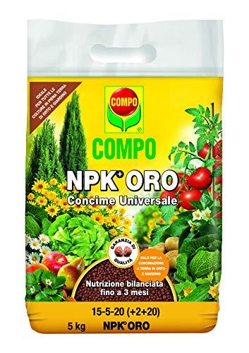 Compo NPK Oro, Concime Universale per Orto e Piante da Giardino, Nutrizione Bilanciata Fino A 3 Mesi, Confezione da 5 kg,