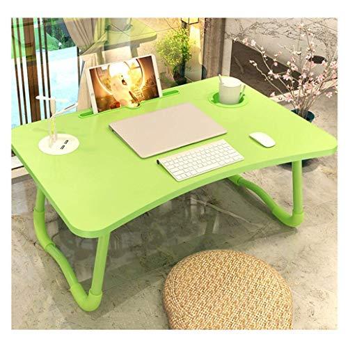 ZXL Table de lit, Table d'ordinateur Portable Multifonction en Plastique Pliable pour résidences étudiantes (Taille: 60cm * 40cm * 28cm) (Couleur: Vert)