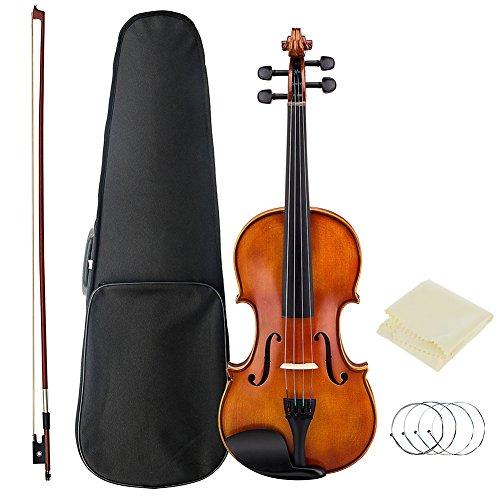 Principiantes 4/4,3/4,1/4,1/2,1/8práctica madera violín con arco con paquete duro caso, limpieza Coth