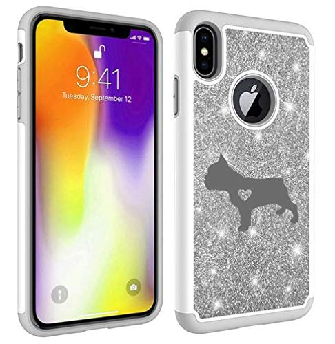 Glitter Bling Sparkle Shockproof Protective Hard Soft Case Cover for Apple iPhone Cute French Bulldog with Heart (Silver, for Apple iPhone 6 Plus/iPhone 6s Plus)
