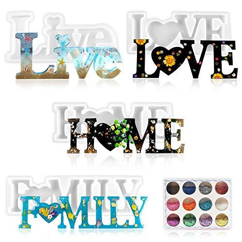 4 moldes de silicona de resina, 3D Love/Home/Family Manualidades Juego de Moldes, cristal epoxi para decoración, para Decoraciones de Mesa, Bodas, DIY Manualidad, San Valentín