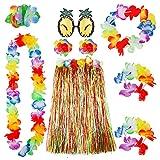 ThinkMax Falda Hawaiana de Hula para Adultos, 80cm de Largo Conjunto de Disfraces de Fiesta Hawaiana