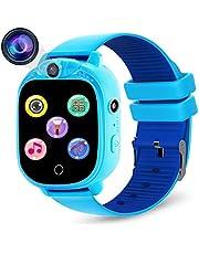 PROGRACE Kids Smartwatch digitale camera horloge met games, muziekspeler, stappenteller, FM-radio's, zaklampen en 3,8 cm touch LCD voor jongens meisjes verjaardag blauw