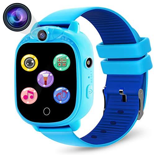 PROGRACE Kids Smartwatch Digitalkamera Uhr mit Spielen, Musik-Player, Schrittzähler, Schrittzähler, FM-Radios, Taschenlampen und 3,8 cm Touch-LCD für Jungen Mädchen Geburtstag Blau