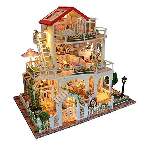 Bobbbiio Miniatur Puppenhaus DIY Holz Handwerk Mini Haus Kit Mit Abdeckung und Beleuchtung Geschenk Dekoration Für Kinder und Freunde Überraschen Sie Die Andere Party Nachts Mit Musik und Lichtern