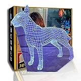 KangYD 3D Nachtlicht Bullterrier Hund, LED Optische Täuschungslampe, E - Alarm Clock Base (7...