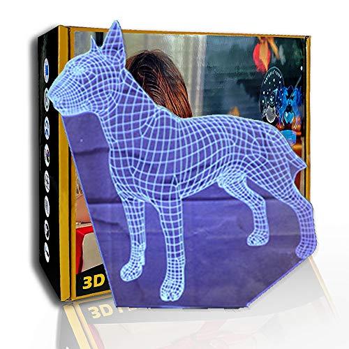 KangYD 3D Luz nocturna Bull Terrier Dog, lámpara de ilusión óptica LED, C- Touch Crack Blanco (7 colores), Cambio colorido, USB alimentado