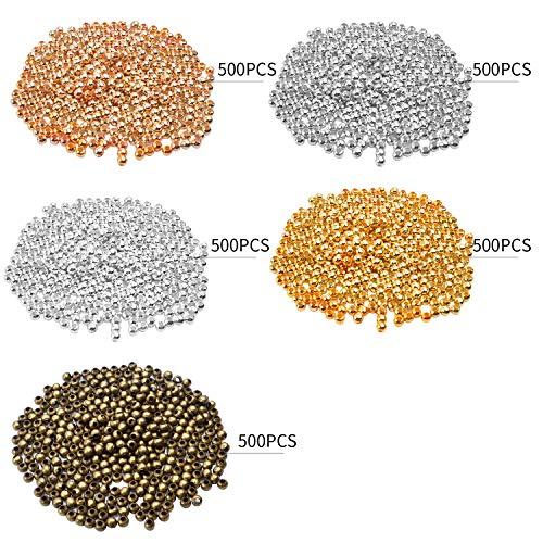 Hendevl Quetschperlen Ø 3 mm, 2500 Stück Quetschröhrchen Crimps Metallperlen Spacer Perlen zum Auffädeln und Basteln - 5 Farben