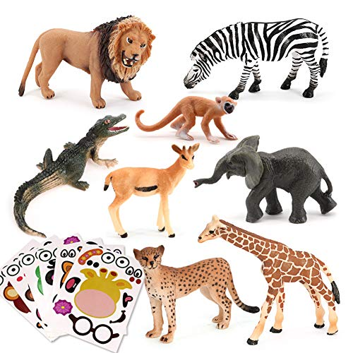 Animal Figurines Toys VOLNAU 6PCS Stickers and 8PCS Jungle Animals Figures Zoo Pack for Toddlers Kids Christmas Birthday Gift Preschool Educational Moose Wolf Bear Jungle Forest Woodland Animals Sets