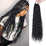 FASHION IDOL Goddess Box Braids Crochet Hair for Black Women 24' Bohemian Box Braid Crochet Hair with Curly Hair 5 Packs Natural Black