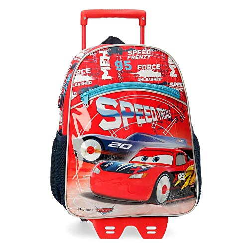 Disney Cars Speed Trails Mochila con Carro, 38cm, Rojo