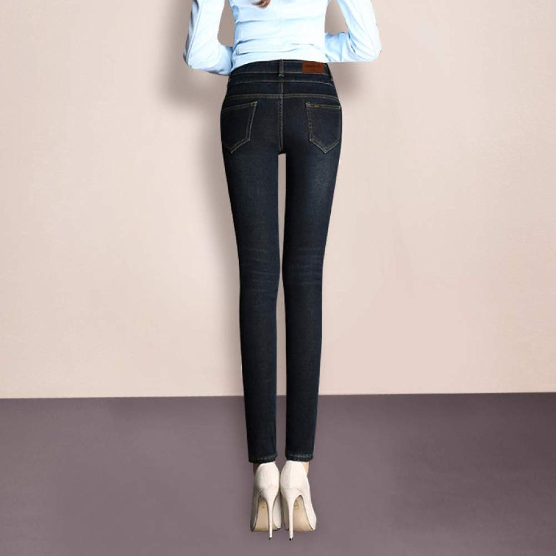 High Waist Small Feet Jeans Female Winter Plus Velvet Slim Slimming Long Pants Boots Pants CTO