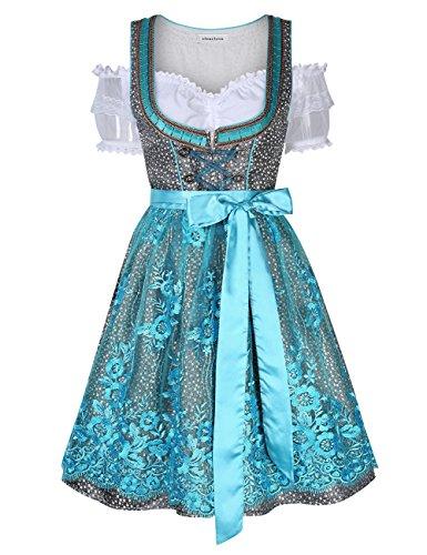 Clearlove Dirndl 3 tlg.Damen Midi Trachtenkleid für Oktoberfest- Spitzen Kleid, Bluse & Schürze, Blau Spitzen, 42