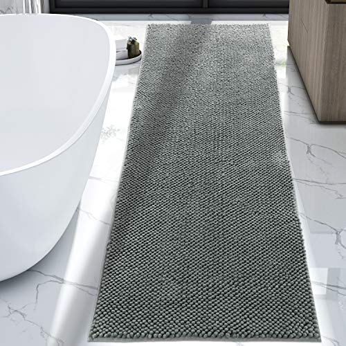 Lifewit Bath Runner Rug 26'×71' Chenille Area Mat Rugs for Bathroom Kitchen Entryway Bedroom Machine Washable Water Absorbent with Non-Slip Rubber Collection Shag Rug, Grey