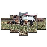 農家の前の子豚フレッシュルックカラー5ピースウォールアートの写真を木製のフレームで伸ばして壁に掛けることができます