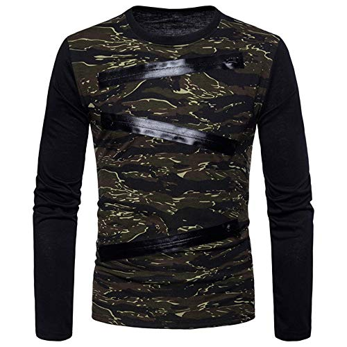 PRJN Fashion Mens Casual Camouflage Print Pullover Long Sleeve T Shirt Cotton Top Lapel Blouse Mens Fashion Camouflage Long Sleeve Casual Shirt Men Casual Shirt Slim Fashion Long Sleeves Shirt