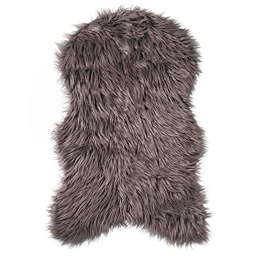 Pure Label Schaffell- Lammfell- Kunstfell Teppich für Wohn und Schlafzimmer. Als Deko Faux Fell auf dem Sofa/Stuhl oder als Bett-Vorleger (Taupe/Braun - 55 x 90 cm)