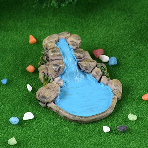 PowerBH Resina Simulación Fuente de Agua Piscina Patio Miniatura Jardín Ornamental Lindo Micro Paisaje Clavija de Madera