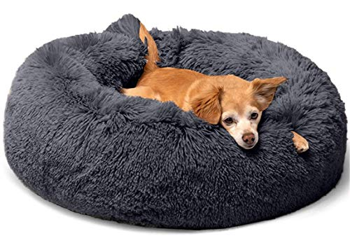 MIEMIE Dog Cat Bed, Plush Calming Donut Pet Bed for Small Dogs, Fluffy Cozy Self-Warming Improved Sleep Pet Cushion Beds, Anti-Slip Machine Washable Dark Grey Medium(30'x30')