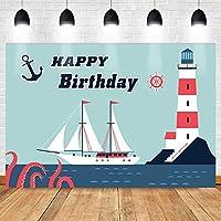 写真撮影のためのHD航海のテーマの誕生日の背景シンプルなライトブルーの灯台帆船の背景航海の冒険パーティーの装飾バナー7x5ftZYMT0872