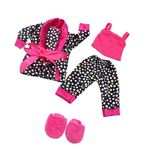 Set de Ropa Pijama Traje Tops Pantalones Zapatos para 18 Pulgadsa Americanas...