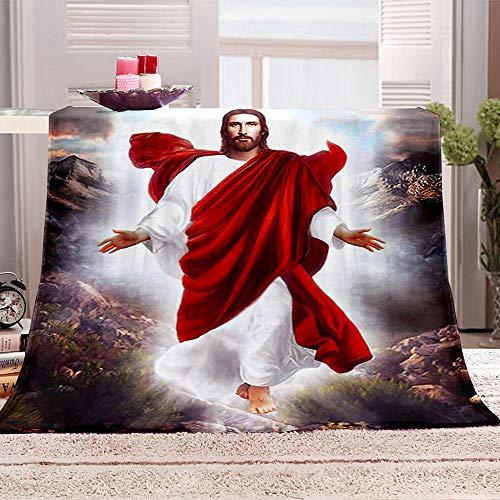 SHHSGZ Mi fe en Jesus Cobijas de Grandes Mantas Suave de Franela Mantas para Cama Bedding Mantas de Sofá Oficina Casa Viaje Mantas de lana-150x180cm