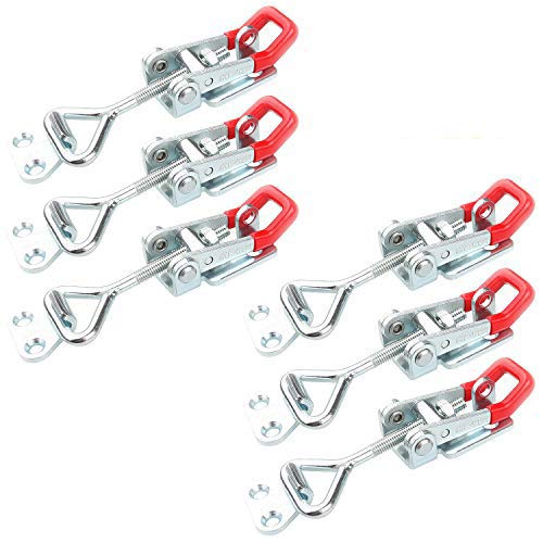 6PCS of Adjustable Toggle Clamp with Lock Hole, Abuff 250kg 550lbs Holding Capacity Heavy Duty GH-4002 Toggle Latch Hasp Clamp for Door, Box, Case, Trunk, Smoker Lid and Jig, Quick Release Pull Latch