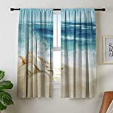 Misscc Room Darkening Blackout Curtains for Bedroom Living Room Kitchen Cafe, Landscape with Shells on Tropical Beach and Splashing Waves, 42 x 63 Inch Light Blocking Print Window Curtains (2 Panels)